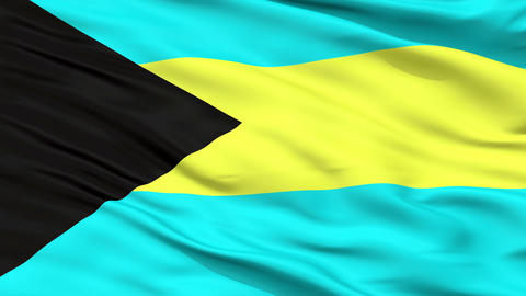 Close Up Waving National Flag of Bahamas Animation