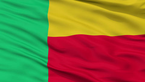 Close Up Waving National Flag of Benin Animation