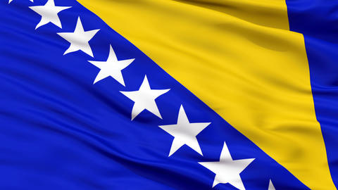 Close Up Waving National Flag of Bosnia and Herzegovina Animation