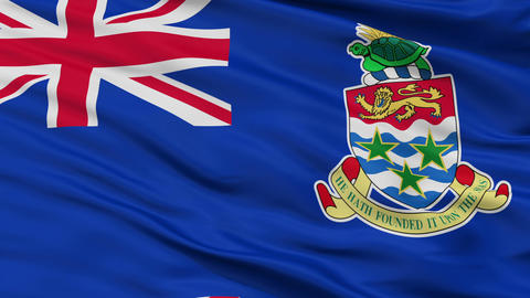 Close Up Waving National Flag of Cayman Islands Animation