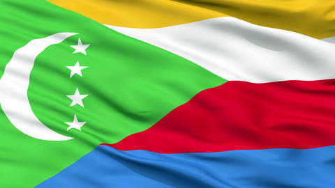 Close Up Waving National Flag of Comoros Animation