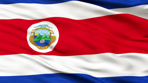 Close Up Waving National Flag of Costa Rica Animation