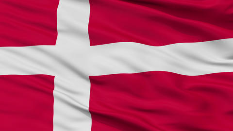 Close Up Waving National Flag of Denmark Animation