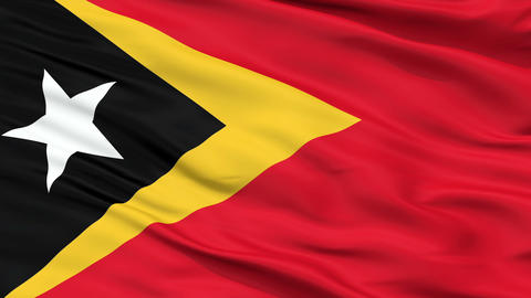 Close Up Waving National Flag of East Timor Animation