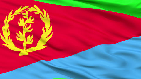 Close Up Waving National Flag of Eritrea Animation