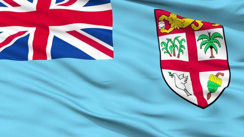 Close Up Waving National Flag of Fiji Animation