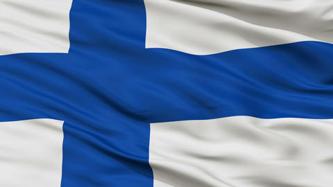 Close Up Waving National Flag of Finland Animation