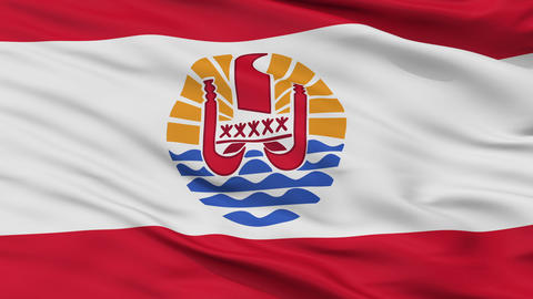 Close Up Waving National Flag of French Polynesia Animation