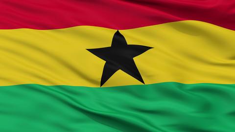 Close Up Waving National Flag of Ghana Animation