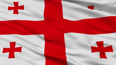 Close Up Waving National Flag of Georgia Animation