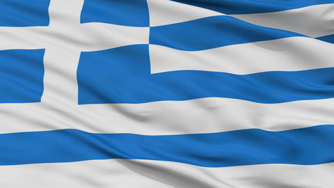 Close Up Waving National Flag of Greece Animation