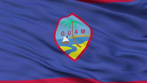 Close Up Waving National Flag of Guam Animation