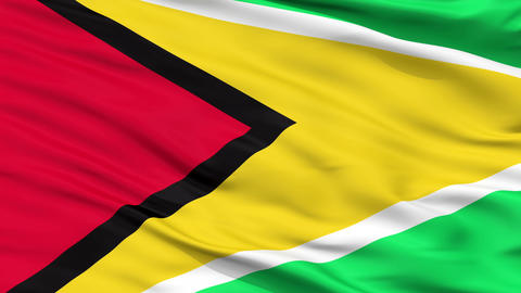 Close Up Waving National Flag of Guyana Animation