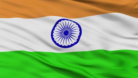 Close Up Waving National Flag of India Animation