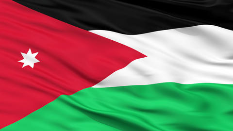Close Up Waving National Flag of Jordan Animation