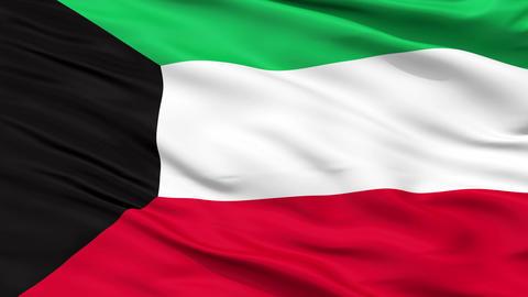 Close Up Waving National Flag of Kuwait Animation