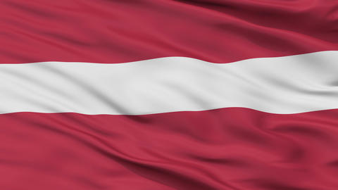 Close Up Waving National Flag of Latvia Animation