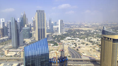 dubai center high view 4k time lapse Footage