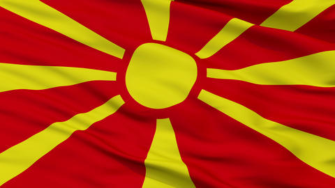 Close Up Waving National Flag of Republic of Macedonia Animation