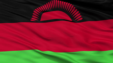 Close Up Waving National Flag of Malawi Animation