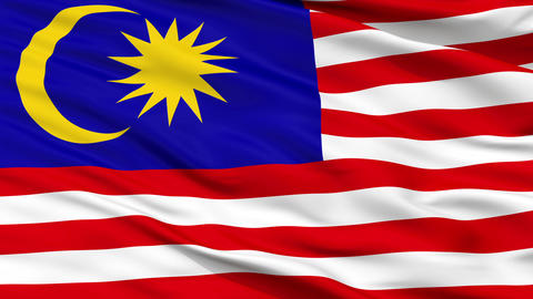 Close Up Waving National Flag of Malaysia Animation