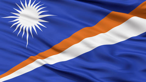 Close Up Waving National Flag of Marshall Islands Animation