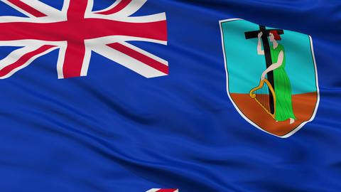Close Up Waving National Flag of Montserrat Animation