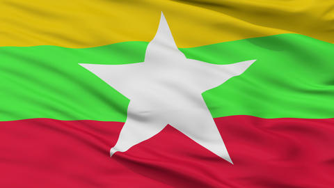 Close Up Waving National Flag of Myanmar Animation