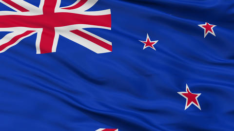 Close Up Waving National Flag of New Zealand Animation