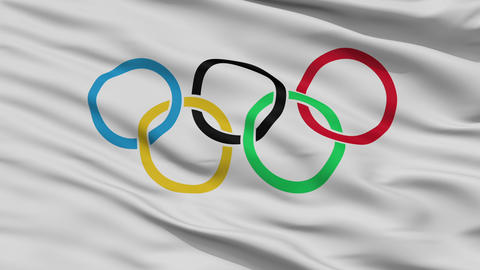 Close Up Waving Flag of Olympic Games Animation