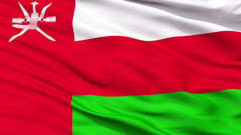 Close Up Waving National Flag of Oman Animation