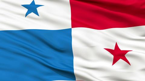 Close Up Waving National Flag of Panama Animation