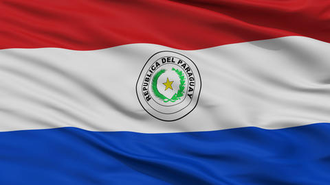 Close Up Waving National Flag of Paraguay Animation