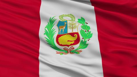Close Up Waving National Flag of Peru Animation