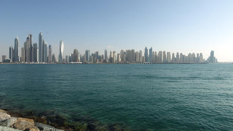 day light dubai marina panoramic time lapse from uae Footage