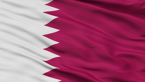 Close Up Waving National Flag of Qatar Animation