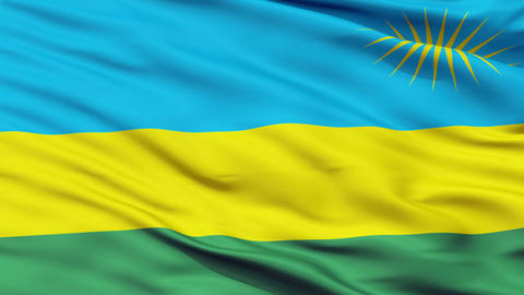 Close Up Waving National Flag of Rwanda Animation