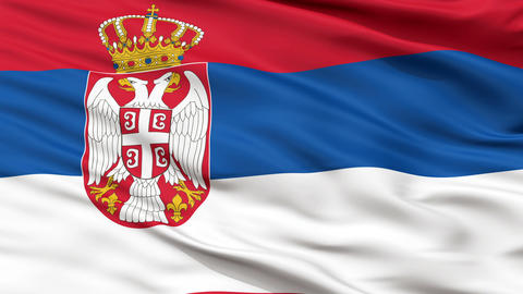 Close Up Waving National Flag of Serbia Animation