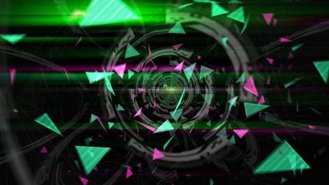 三角形のアブストラクト(ループ可能) - ズームイン/カラーB CG動画素材