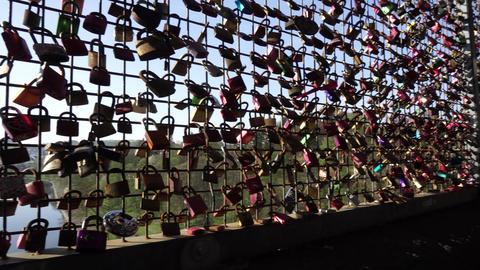 Closed Padlocks Hanging On Bridge Fence, Love Couple Friendship Forever Concept 영상물