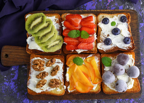 sweet sandwiches with fruit and soft cheese Photo