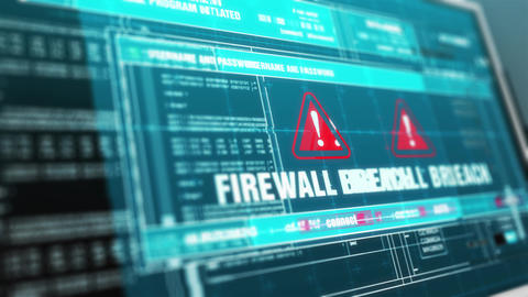 FIREWALL BREACH Warning System Security Alert on Computer Screen Animación