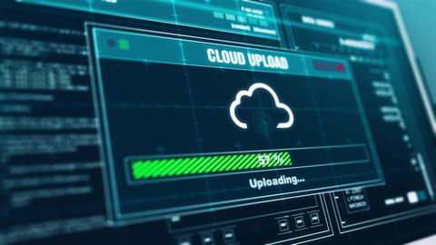 Cloud Upload Progress Warning Message Upload Complete Alert on Screen Animation