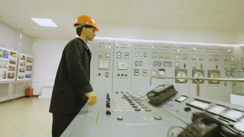 worker mannequin stands near dashboard in museum Live Action