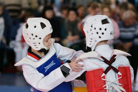 Orenburg, Russia - January 27, 2018 years: the kids compete in Taekwondo Photo
