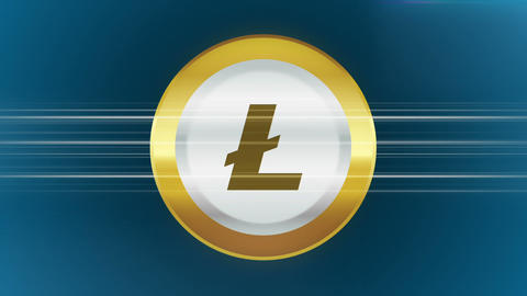 Abstract animation of cryptocurrency litecoin on blue background 애니메이션