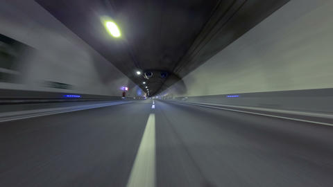 Fast driving at a empty tunnel.Vehicle shot Footage