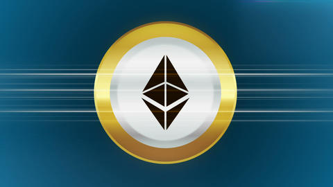 Abstract animation of cryptocurrency ethereum on blue background 애니메이션