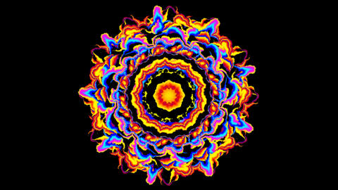 Psychedelic mandala with moving colors on black background Animation