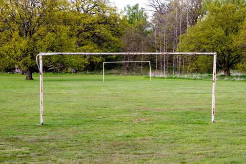Abandoned soccer gate フォト